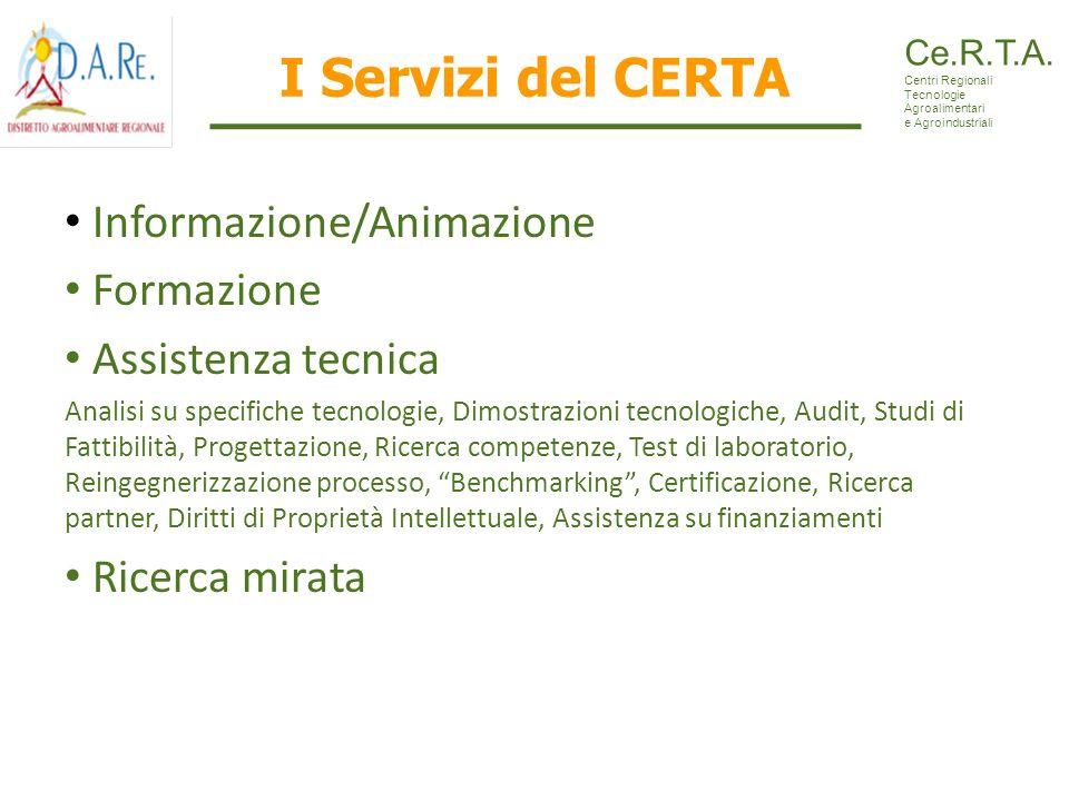 I Servizi del CERTA Informazione/Animazione Formazione