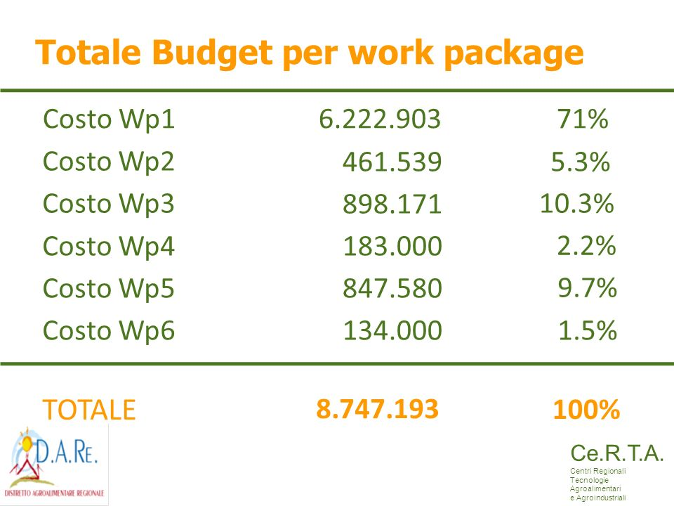 Totale Budget per work package