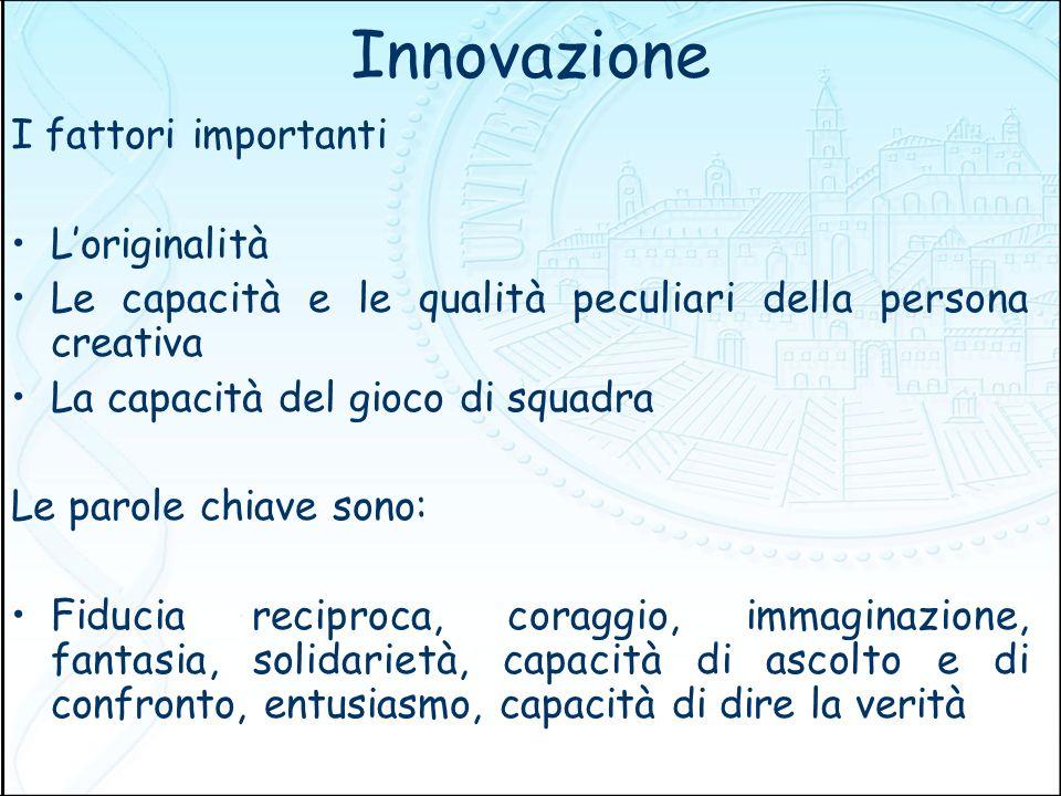 Innovazione I fattori importanti L'originalità
