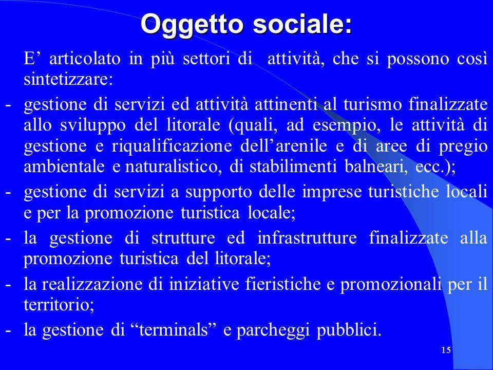 Oggetto sociale: E' articolato in più settori di attività, che si possono così sintetizzare: