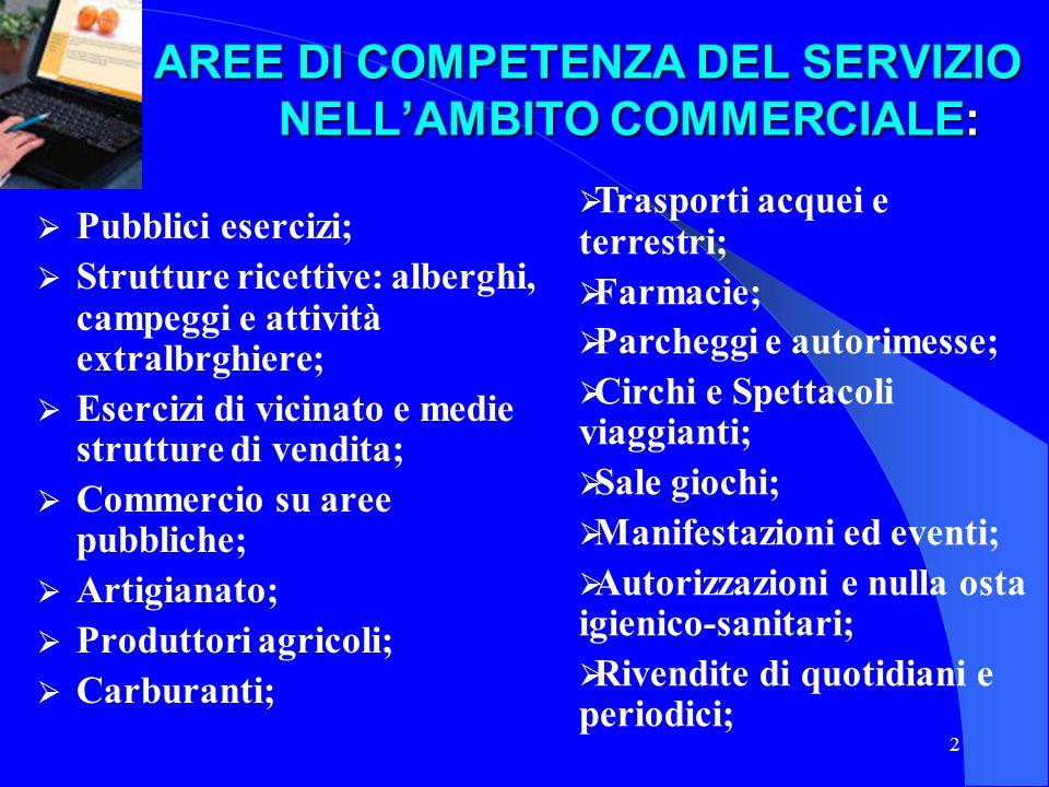 AREE DI COMPETENZA DEL SERVIZIO NELL'AMBITO COMMERCIALE: