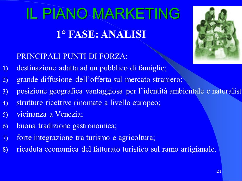 IL PIANO MARKETING 1° FASE: ANALISI PRINCIPALI PUNTI DI FORZA: