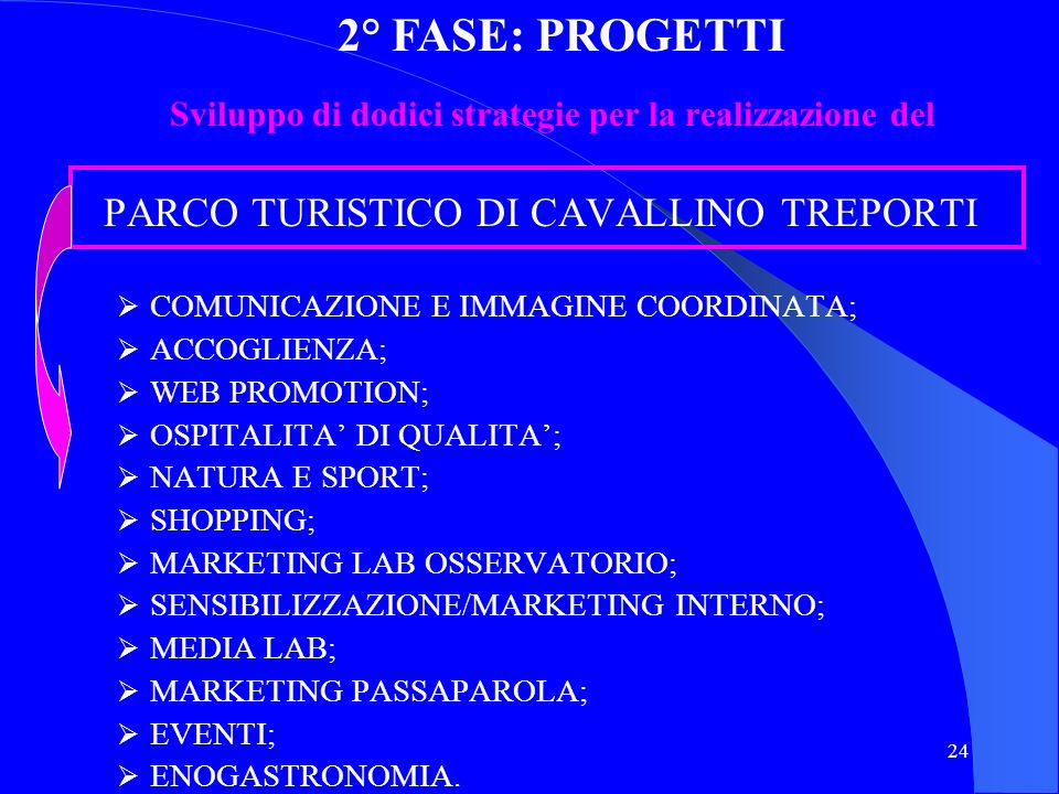 2° FASE: PROGETTI Sviluppo di dodici strategie per la realizzazione del. PARCO TURISTICO DI CAVALLINO TREPORTI.
