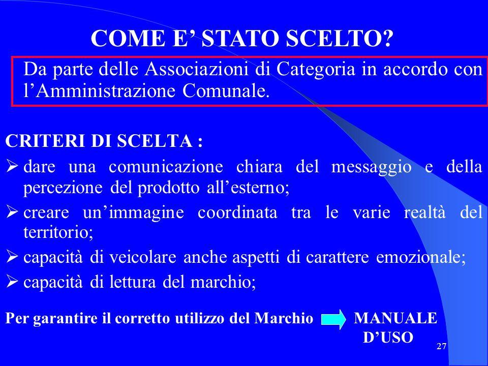 COME E' STATO SCELTO Da parte delle Associazioni di Categoria in accordo con l'Amministrazione Comunale.