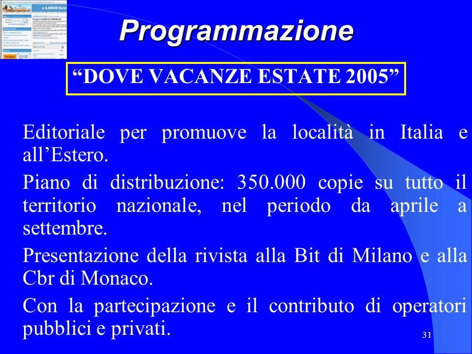 Programmazione DOVE VACANZE ESTATE 2005