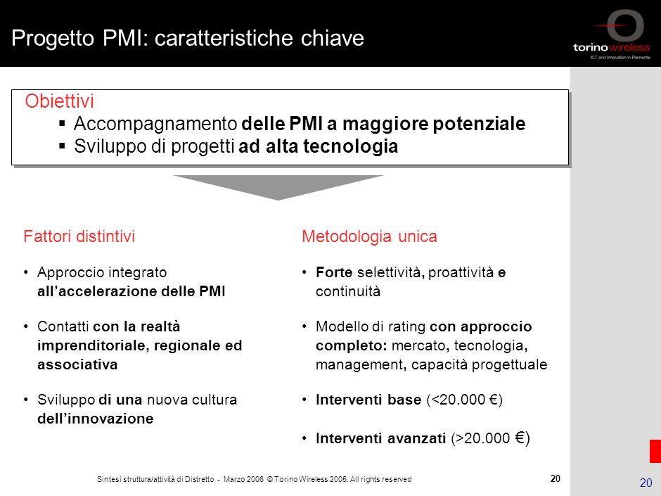 Progetto PMI: caratteristiche chiave