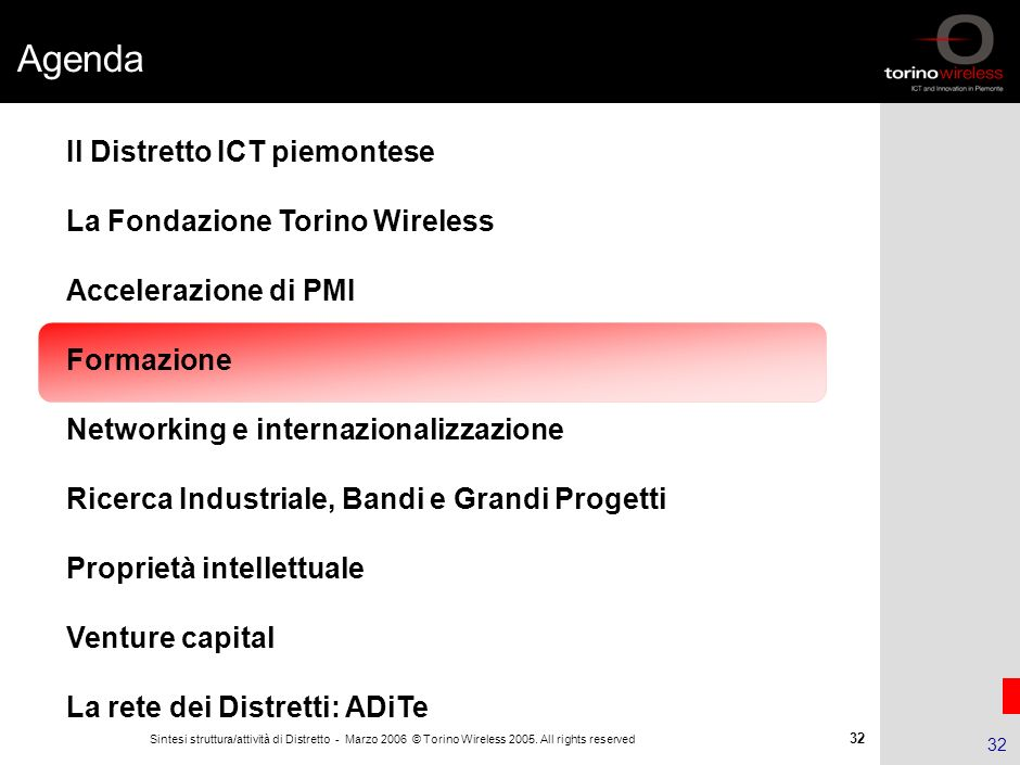 Agenda Il Distretto ICT piemontese La Fondazione Torino Wireless