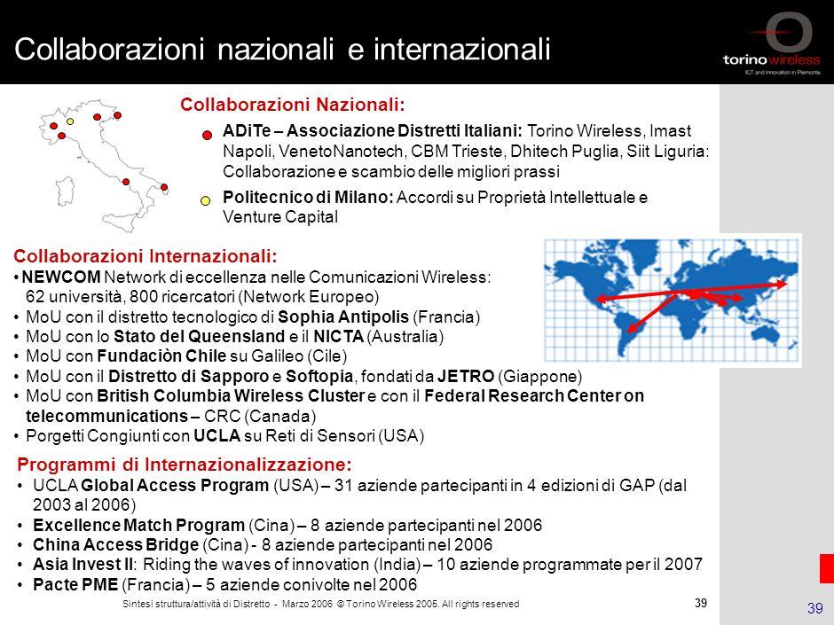 Collaborazioni nazionali e internazionali