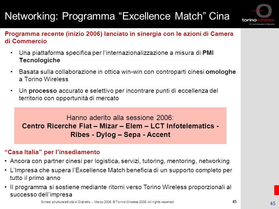 Networking: Programma Excellence Match Cina