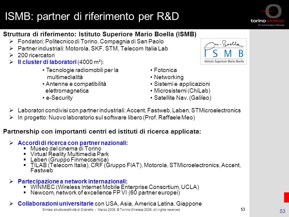 ISMB: partner di riferimento per R&D