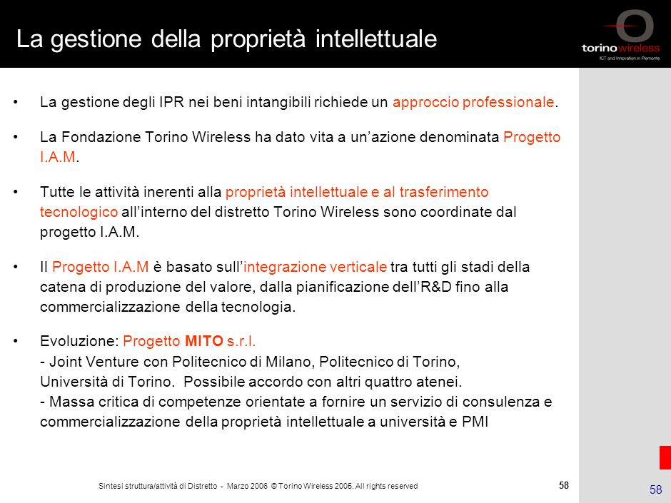 La gestione della proprietà intellettuale