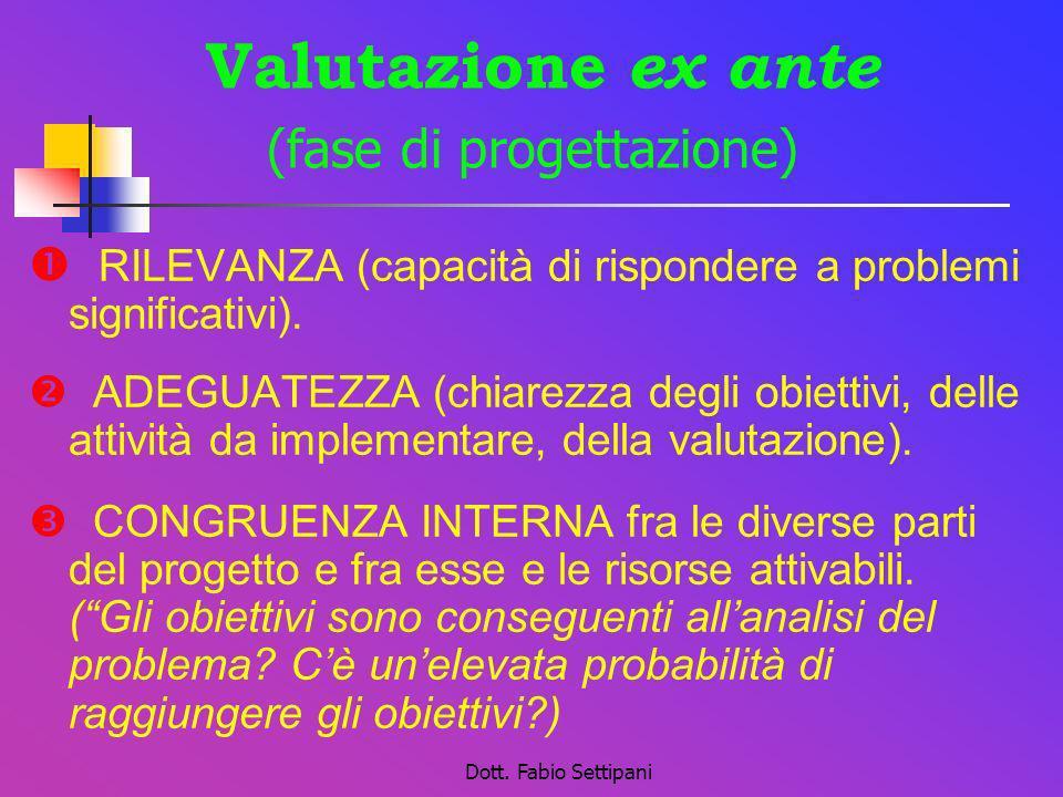 Valutazione ex ante (fase di progettazione)
