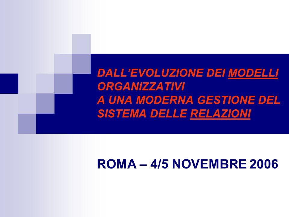 DALL'EVOLUZIONE DEI MODELLI ORGANIZZATIVI A UNA MODERNA GESTIONE DEL SISTEMA DELLE RELAZIONI