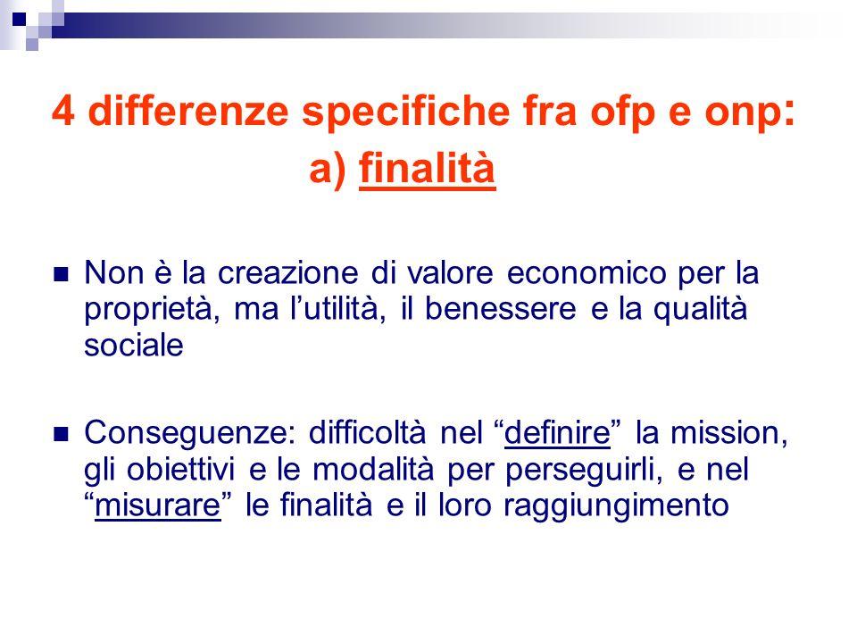 4 differenze specifiche fra ofp e onp: a) finalità