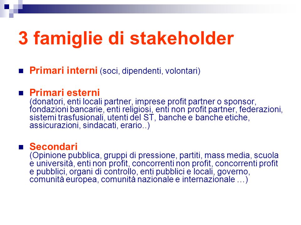 3 famiglie di stakeholder