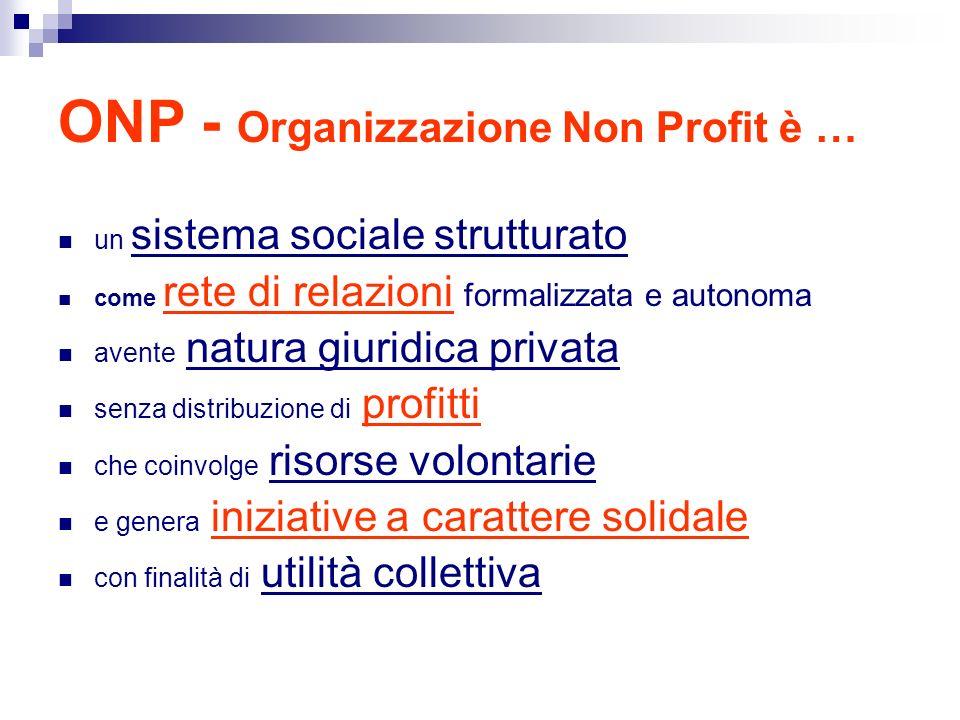 ONP - Organizzazione Non Profit è …