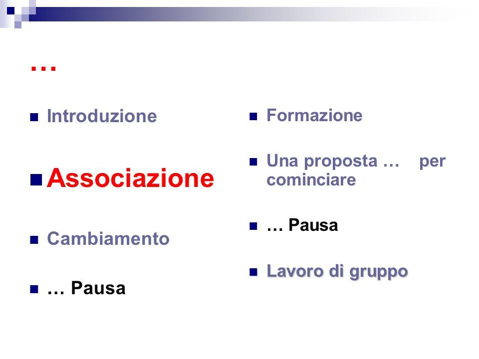 … Associazione Introduzione Cambiamento … Pausa Formazione