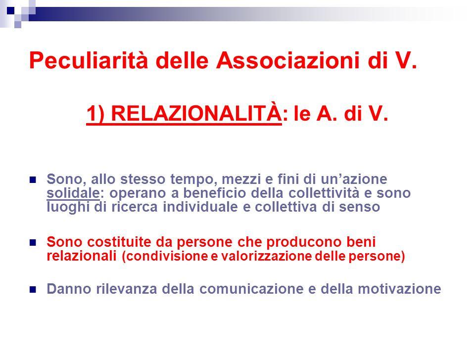 Peculiarità delle Associazioni di V.