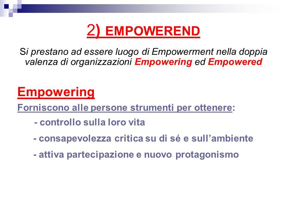 2) EMPOWEREND Si prestano ad essere luogo di Empowerment nella doppia valenza di organizzazioni Empowering ed Empowered