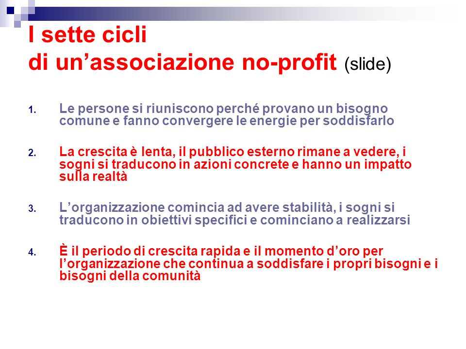 I sette cicli di un'associazione no-profit (slide)