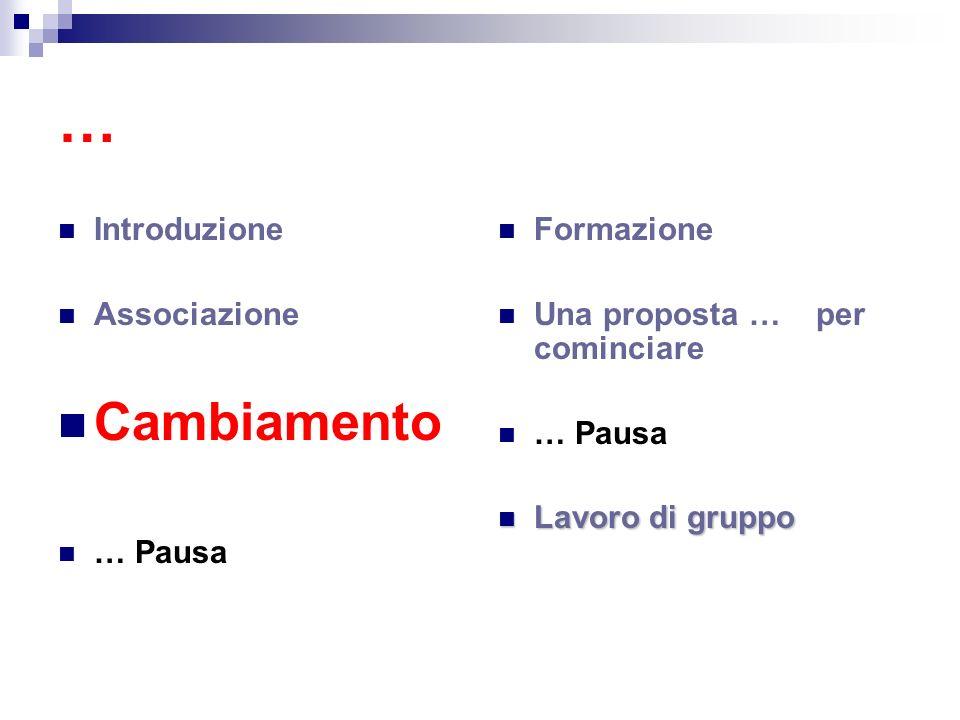 … Cambiamento Introduzione Associazione … Pausa Formazione