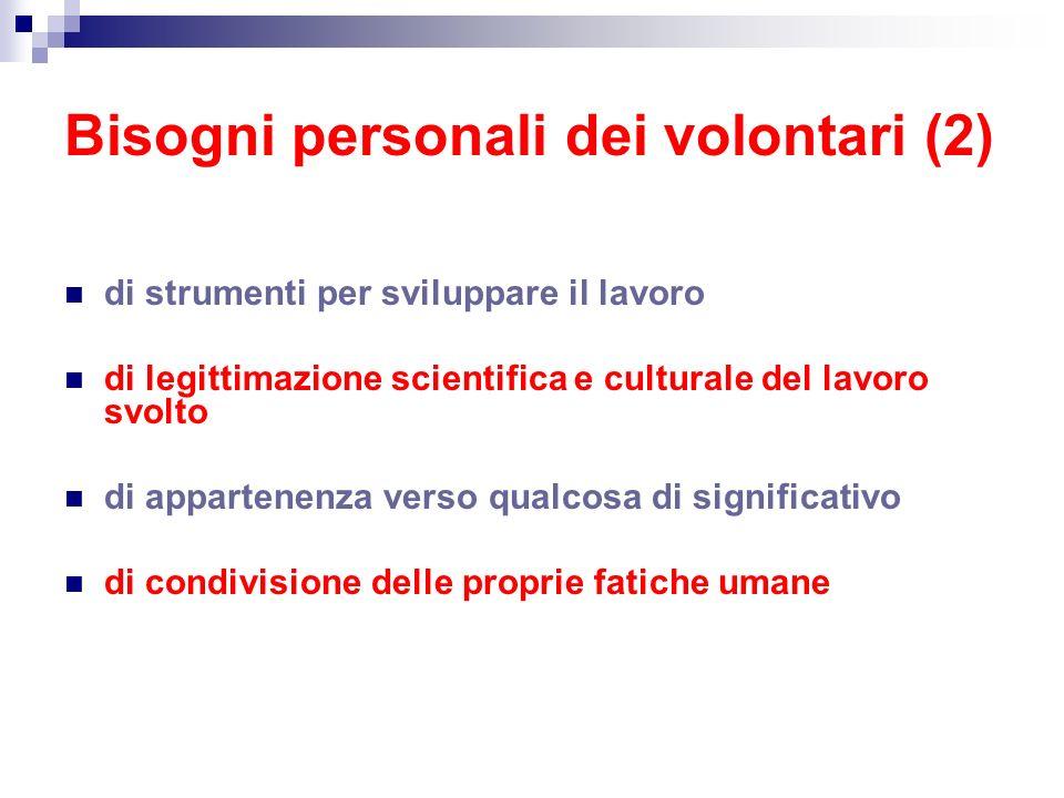 Bisogni personali dei volontari (2)