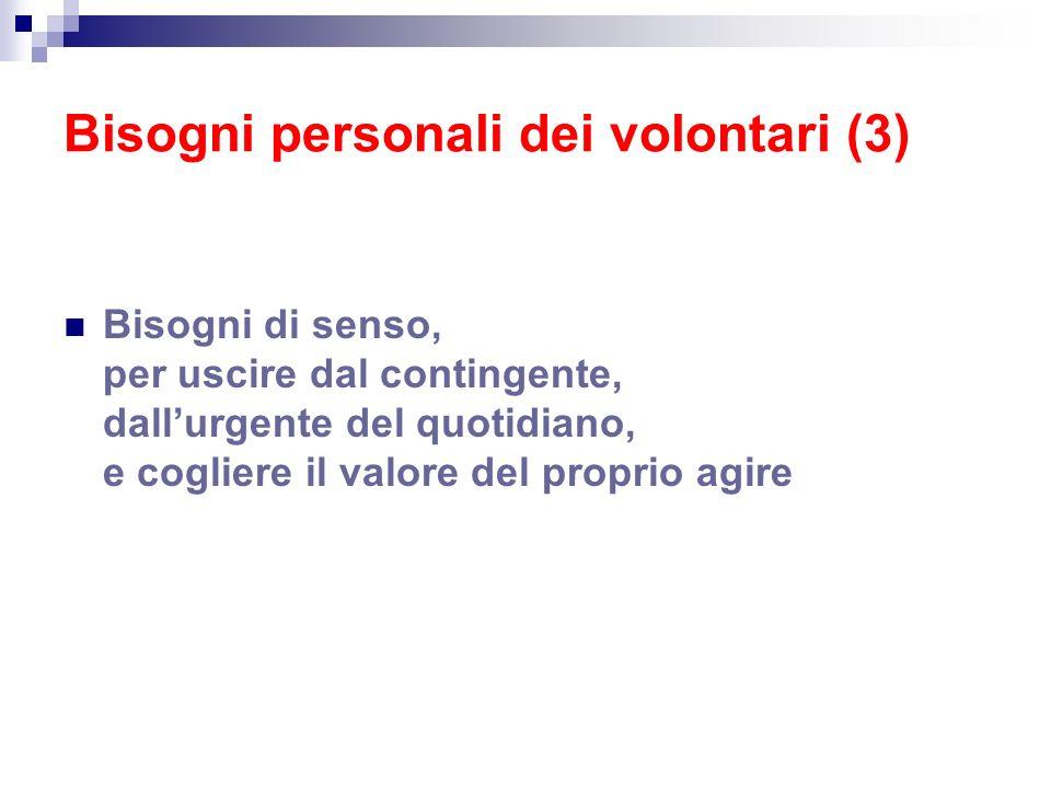 Bisogni personali dei volontari (3)
