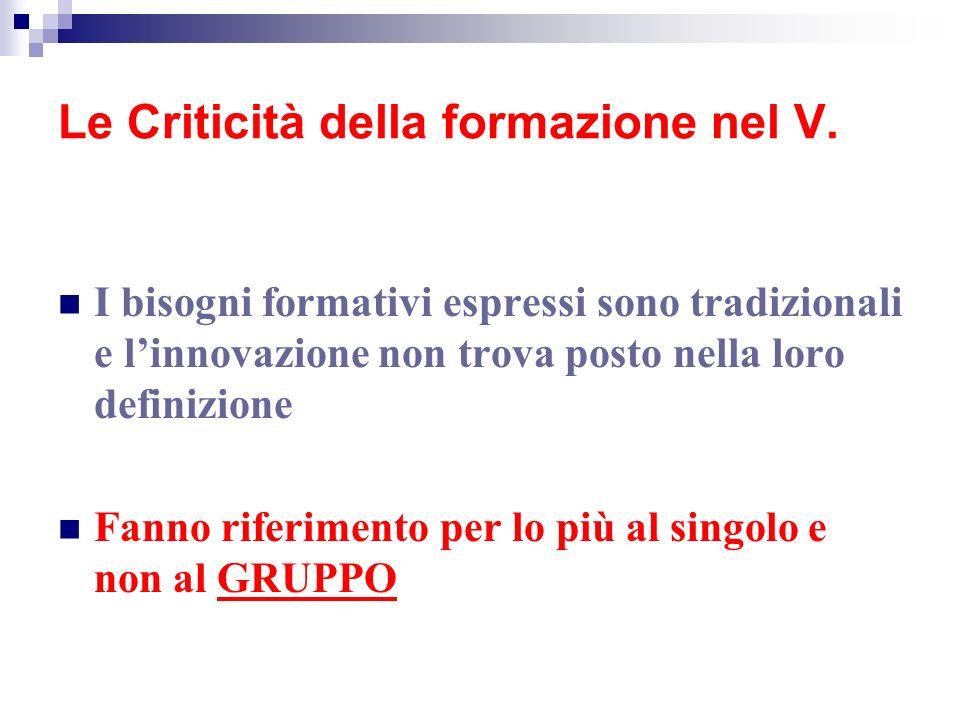 Le Criticità della formazione nel V.