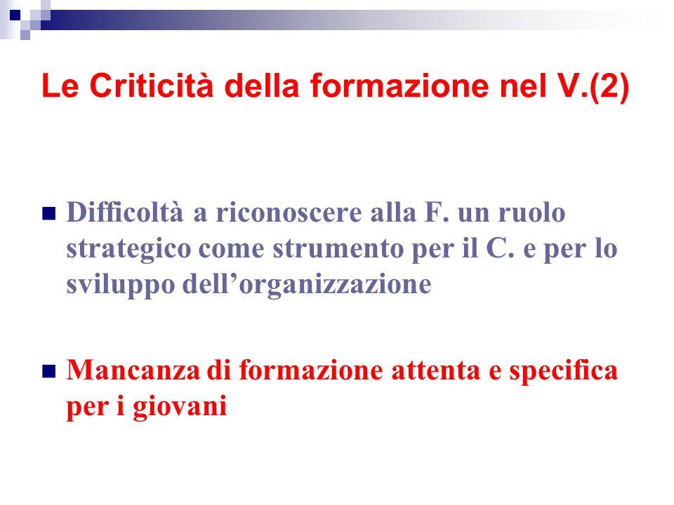 Le Criticità della formazione nel V.(2)