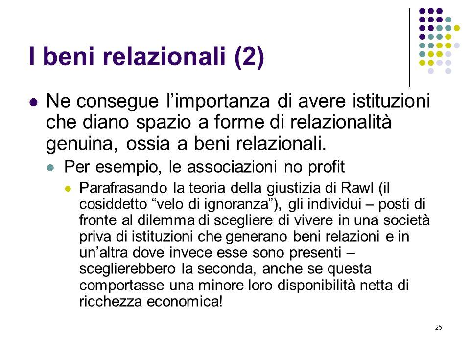 I beni relazionali (2) Ne consegue l'importanza di avere istituzioni che diano spazio a forme di relazionalità genuina, ossia a beni relazionali.