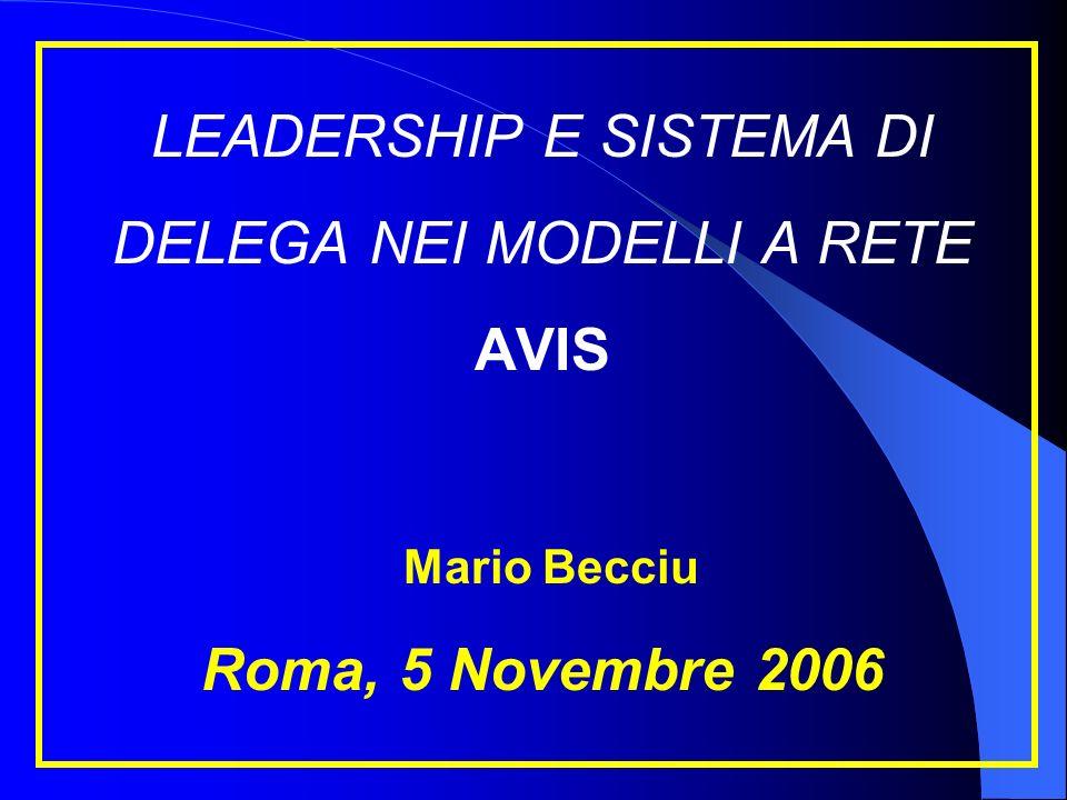 LEADERSHIP E SISTEMA DI DELEGA NEI MODELLI A RETE AVIS Mario Becciu Roma, 5 Novembre 2006