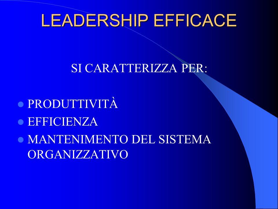 LEADERSHIP EFFICACE SI CARATTERIZZA PER: PRODUTTIVITÀ EFFICIENZA