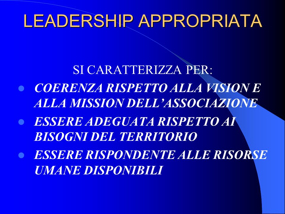 LEADERSHIP APPROPRIATA