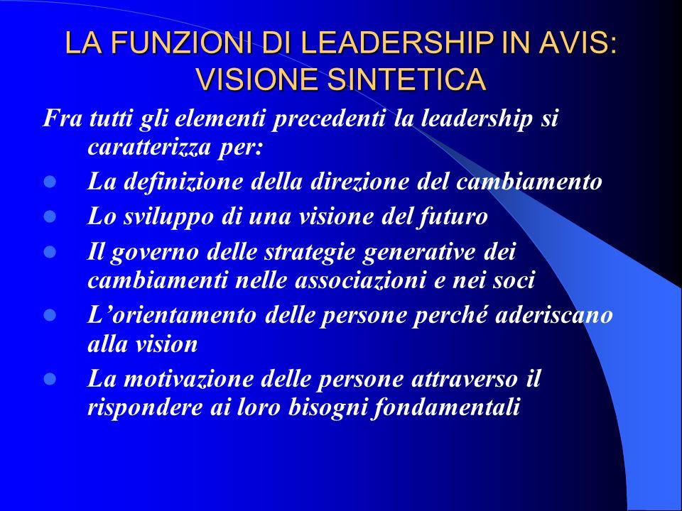 LA FUNZIONI DI LEADERSHIP IN AVIS: VISIONE SINTETICA