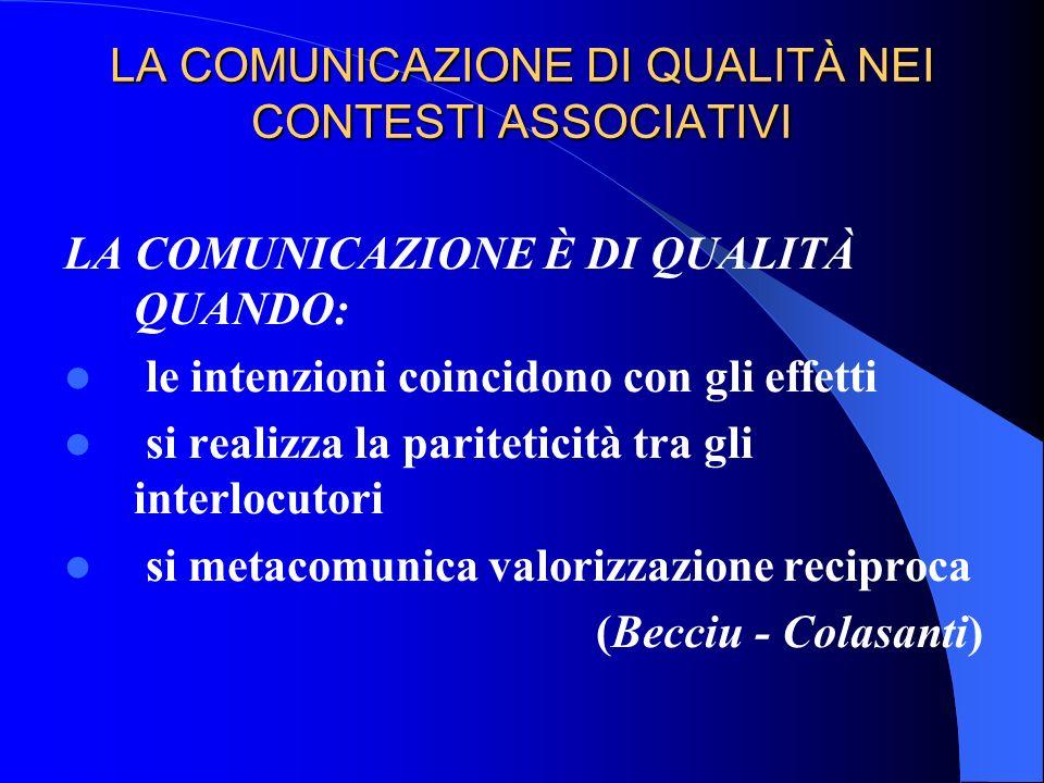 LA COMUNICAZIONE DI QUALITÀ NEI CONTESTI ASSOCIATIVI