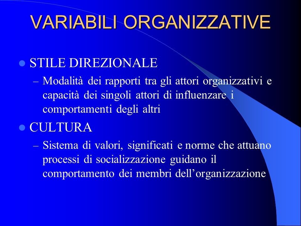 VARIABILI ORGANIZZATIVE