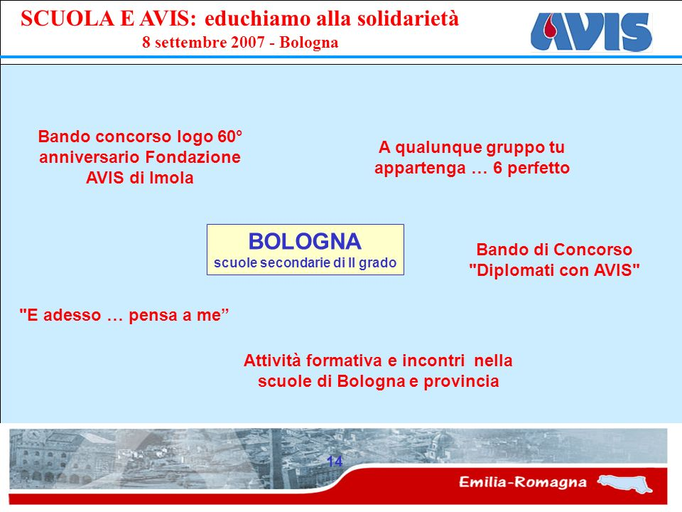 BOLOGNA Bando concorso logo 60° anniversario Fondazione AVIS di Imola