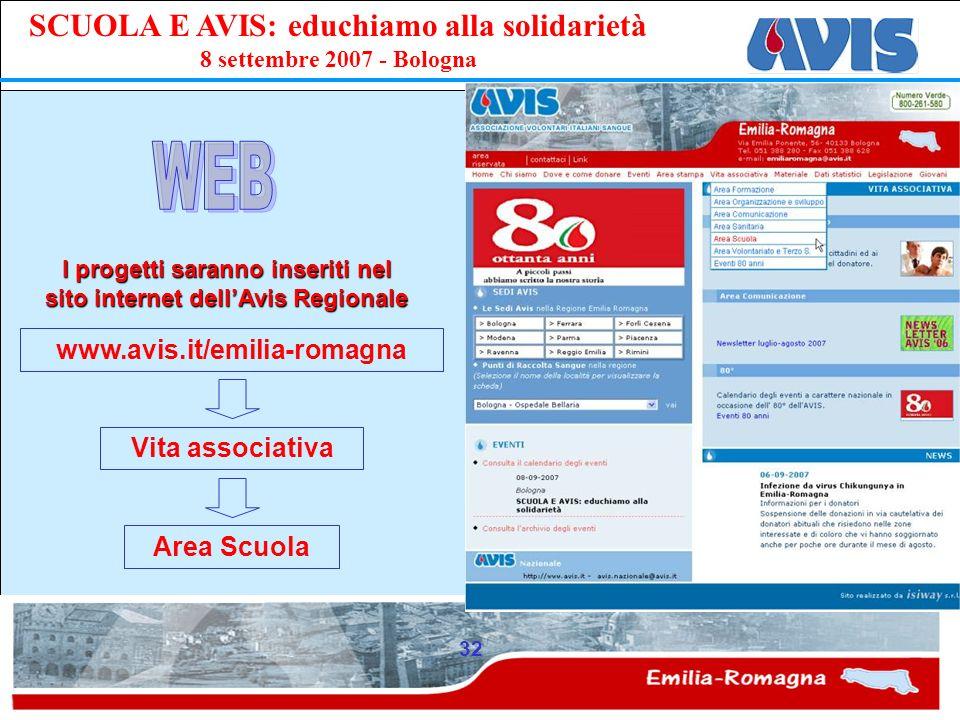 I progetti saranno inseriti nel sito internet dell'Avis Regionale