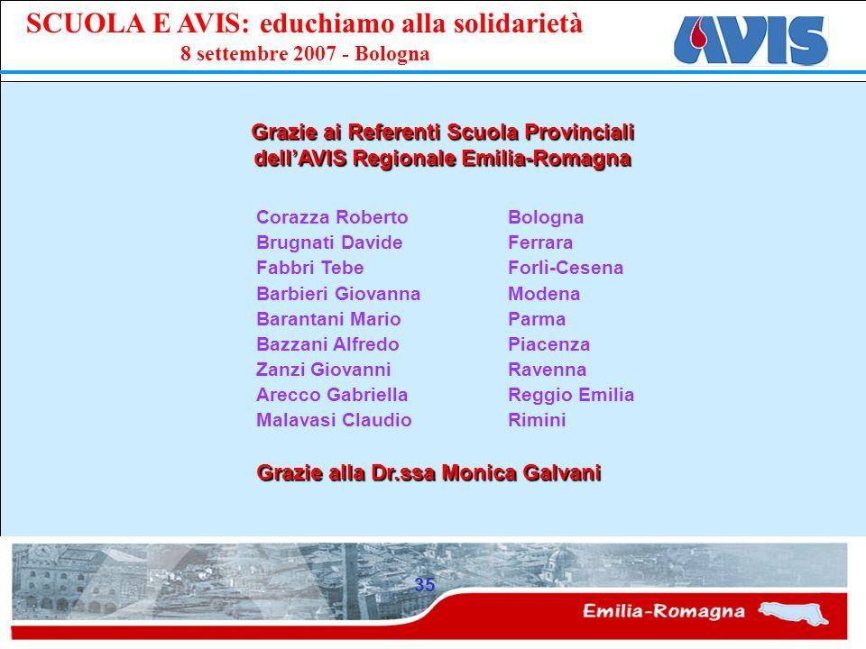 Grazie ai Referenti Scuola Provinciali dell'AVIS Regionale Emilia-Romagna