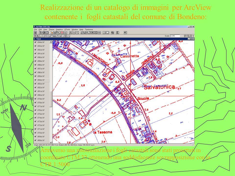 Realizzazione di un catalogo di immagini per ArcView contenente i fogli catastali del comune di Bondeno:
