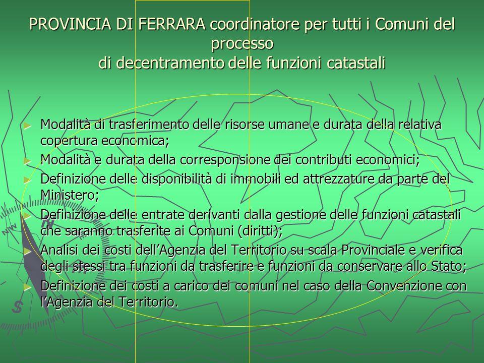 PROVINCIA DI FERRARA coordinatore per tutti i Comuni del processo di decentramento delle funzioni catastali