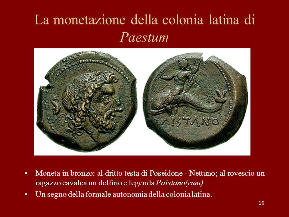La monetazione della colonia latina di Paestum