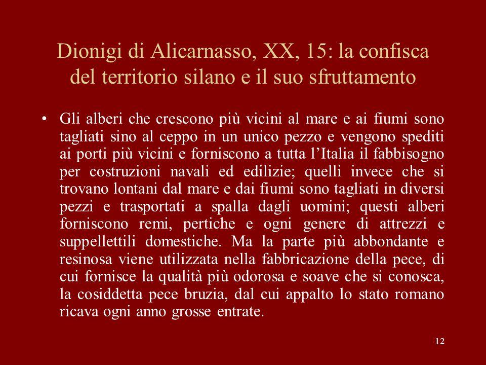 Dionigi di Alicarnasso, XX, 15: la confisca del territorio silano e il suo sfruttamento