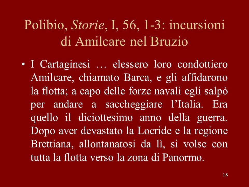 Polibio, Storie, I, 56, 1-3: incursioni di Amilcare nel Bruzio