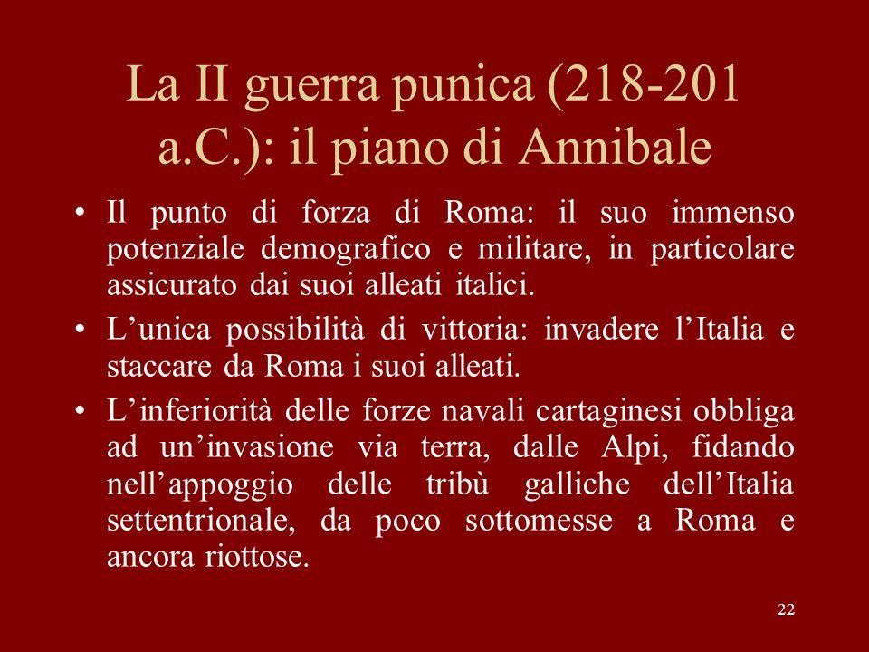 La II guerra punica (218-201 a.C.): il piano di Annibale