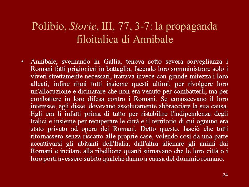 Polibio, Storie, III, 77, 3-7: la propaganda filoitalica di Annibale