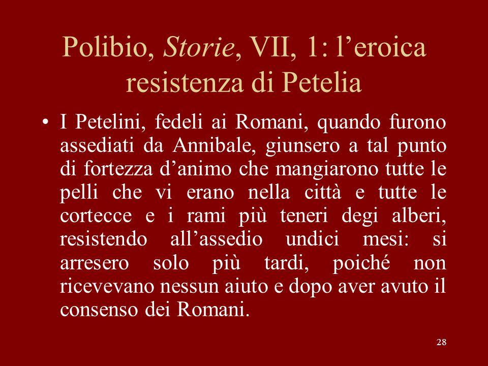 Polibio, Storie, VII, 1: l'eroica resistenza di Petelia