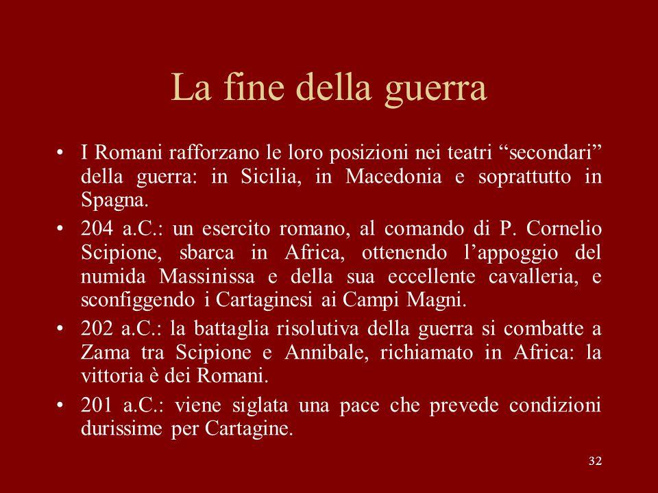 La fine della guerra I Romani rafforzano le loro posizioni nei teatri secondari della guerra: in Sicilia, in Macedonia e soprattutto in Spagna.