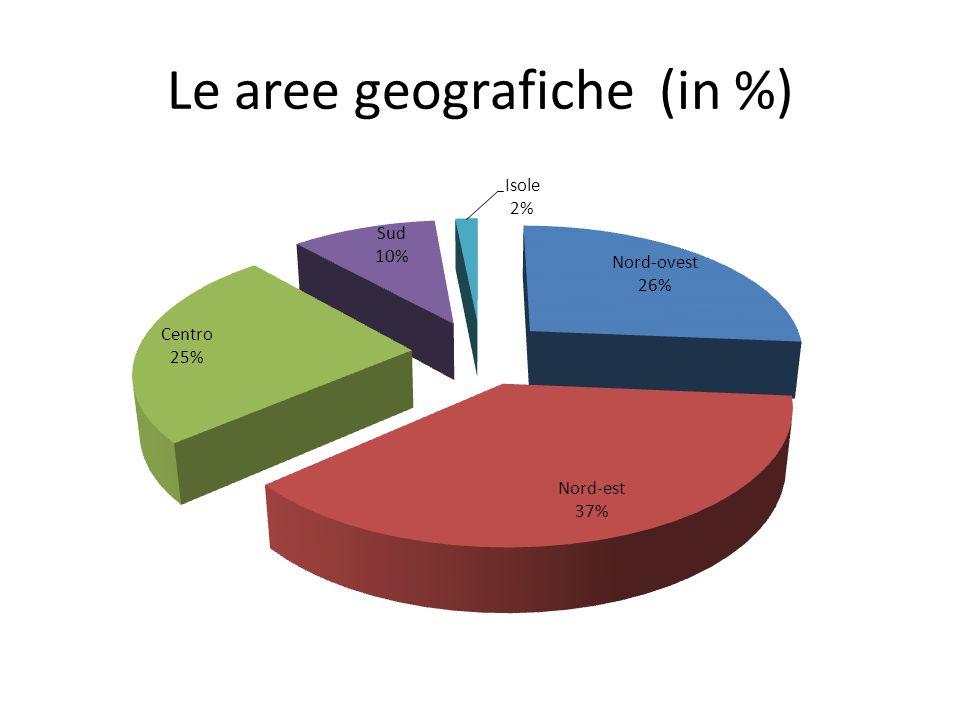 Le aree geografiche (in %)