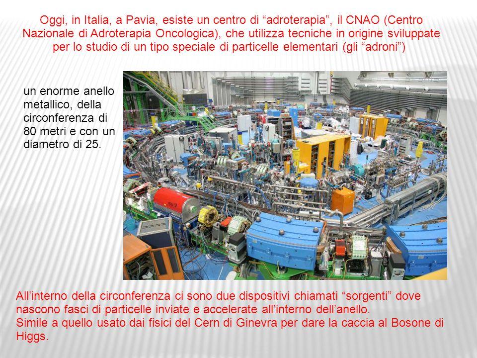 Oggi, in Italia, a Pavia, esiste un centro di adroterapia , il CNAO (Centro Nazionale di Adroterapia Oncologica), che utilizza tecniche in origine sviluppate per lo studio di un tipo speciale di particelle elementari (gli adroni )